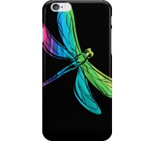 Rainbow Dragonfly on Black iPhone Case/Skin