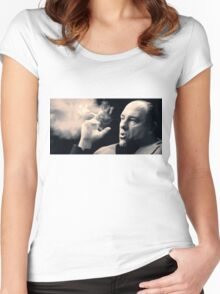 Tony Soprano with cigar Women's Fitted Scoop T-Shirt