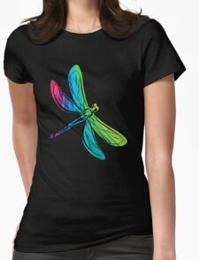 Rainbow Dragonfly Womens Fitted T-Shirt