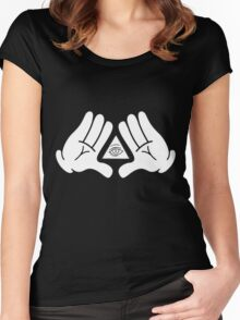 illuminati Mickey hands Women's Fitted Scoop T-Shirt
