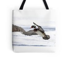 By the frozen shoreline - Wood Duck Tote Bag