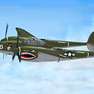 Top Hatted Skull P-38 Lightning by Walter Colvin
