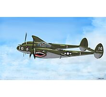 Top Hatted Skull P-38 Lightning Photographic Print