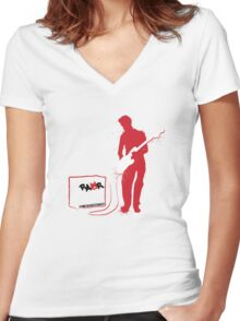 Rock Guitarist Women's Fitted V-Neck T-Shirt
