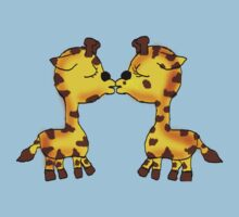 Kissing Chibi Giraffes  One Piece - Short Sleeve