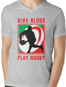 rugby give blood play rugby Mens V-Neck T-Shirt