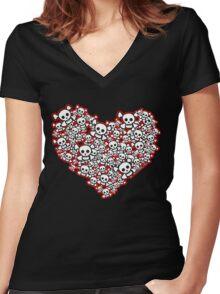 Emo Skull Hearts Women's Fitted V-Neck T-Shirt