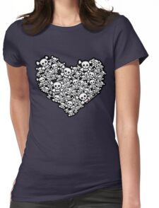 Emo Skull Love Womens Fitted T-Shirt
