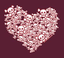 Red And White Emo Skull Heart by rawrclothing