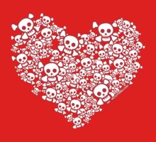 Red And White Emo Skull Heart Kids Tee