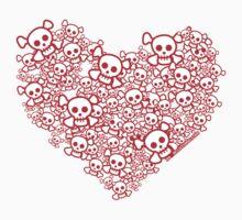 Red And White Emo Skull Heart Kids Tee