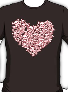 Red And White Emo Skull Heart T-Shirt