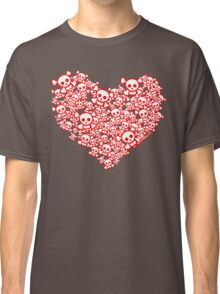 Red And White Emo Skull Heart Classic T-Shirt