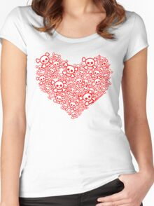 Red And White Emo Skull Heart Women's Fitted Scoop T-Shirt