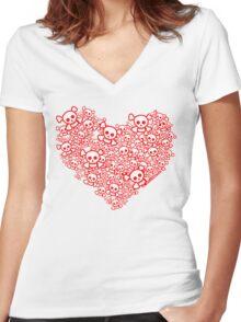 Red And White Emo Skull Heart Women's Fitted V-Neck T-Shirt
