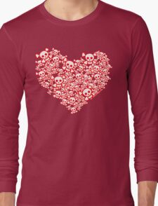 Red And White Emo Skull Heart Long Sleeve T-Shirt