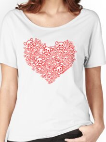 Red And White Emo Skull Heart Women's Relaxed Fit T-Shirt