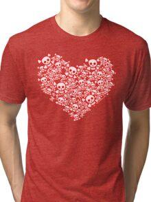 Red And White Emo Skull Heart Tri-blend T-Shirt