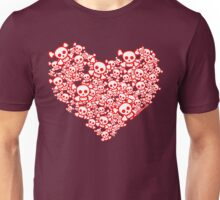 Red And White Emo Skull Heart Unisex T-Shirt