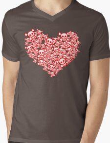 Red And White Emo Skull Heart Mens V-Neck T-Shirt