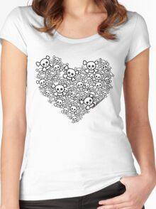 White Emo Skull Love Women's Fitted Scoop T-Shirt