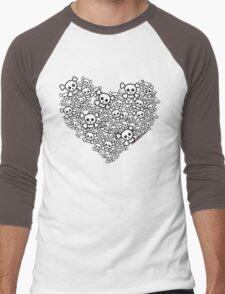 White Emo Skull Love Men's Baseball ¾ T-Shirt