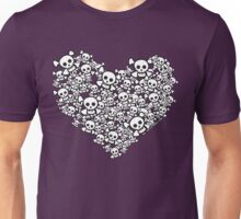 White Emo Skull Love Unisex T-Shirt