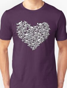 White Emo Skull Love T-Shirt
