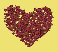 Cute Emo Skull Heart One Piece - Short Sleeve