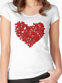 Cute Emo Skull Heart Women's Fitted Scoop T-Shirt