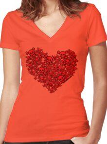 Cute Emo Skull Heart Women's Fitted V-Neck T-Shirt