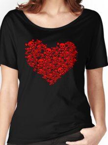 Cute Emo Skull Heart Women's Relaxed Fit T-Shirt