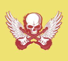 Rock Music Skull Guitar One Piece - Short Sleeve