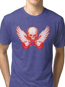 Rock Music Skull Guitar Tri-blend T-Shirt