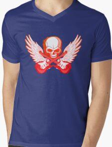 Rock Music Skull Guitar Mens V-Neck T-Shirt