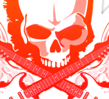 Rock Music Skull Guitar Sticker