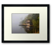 Boathouse in the Mist Framed Print