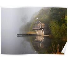Boathouse in the Mist Poster