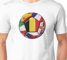 Soccer ball with flag of Belgium in the center Unisex T-Shirt