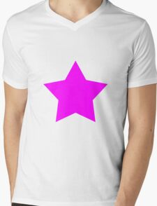 Pink Emo Star Mens V-Neck T-Shirt