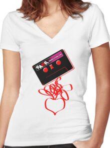 Retro Cassette Tape Love Women's Fitted V-Neck T-Shirt