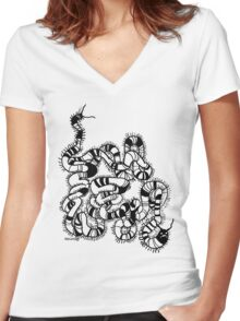 worm Women's Fitted V-Neck T-Shirt