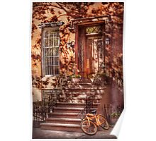 Bike - NY - Greenwich Village - An orange bike  Poster