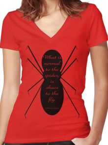 Morticia Addams Spider Quote Women's Fitted V-Neck T-Shirt