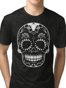 White-Sugar Skull Tri-blend T-Shirt