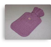 Pink Knitted Hot-Water Bottle Cover Canvas Print
