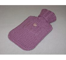 Pink Knitted Hot-Water Bottle Cover Photographic Print