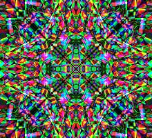Green Rainbow Mandala Fractal Art Pattern by Pixie Copley LRPS