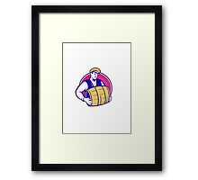 Bartender Carrying Beer Keg Retro Framed Print