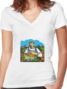 Organic Farmer Farm Produce Harvest Retro Women's Fitted V-Neck T-Shirt